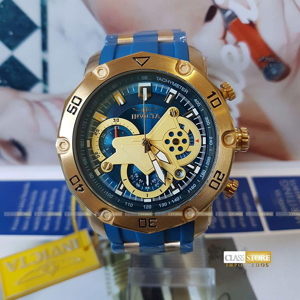 1b90c26d2fc ... Lançamento Relógio INVICTA Pro Diver 22798 50mm Banhado a Ouro 18k  Mostrador e pulseira Azul Cronógrafo ...