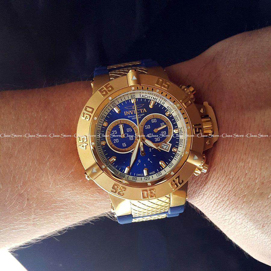 9071f85d87b ... Relógio Invicta Subaqua Noma 3 5515 Banhado Ouro 18k Original  Cronógrafo Suíço Azul - Imagem 5