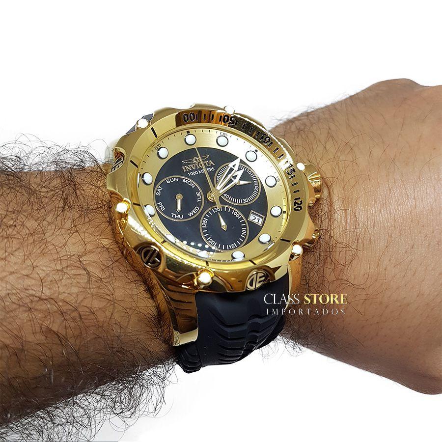 8090523e271 ... Relógio Invicta Venom 20401 Original Banhado a Ouro 18kt Preto Suíço  Cronógrafo - Imagem 7