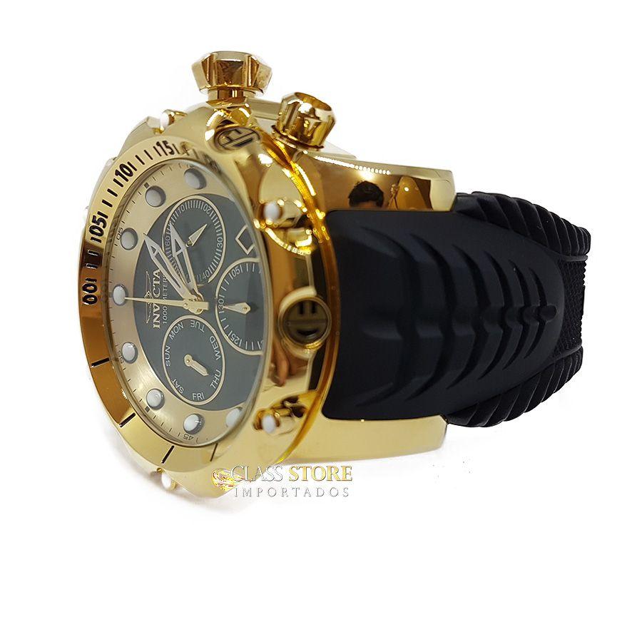 4afbf4d6ce7 ... Relógio Invicta Venom 20401 Original Banhado a Ouro 18kt Preto Suíço  Cronógrafo - Imagem 4 ...