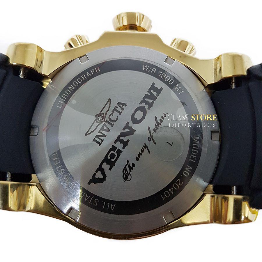 1a7679be4e1 ... Relógio Invicta Venom 20401 Original Banhado a Ouro 18kt Preto Suíço  Cronógrafo - Imagem 6 ...
