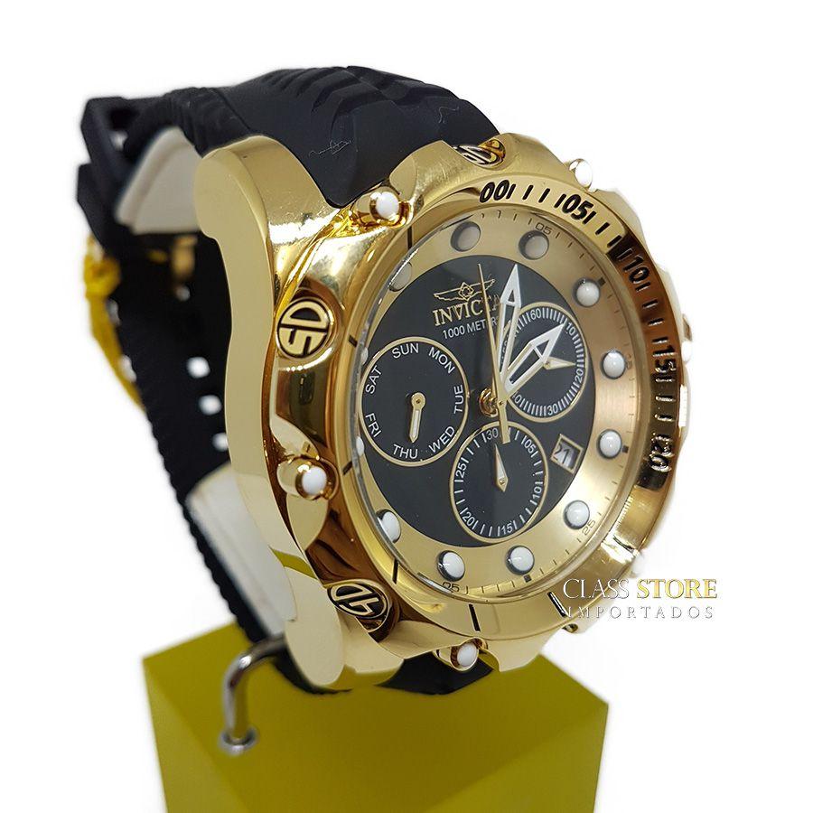 764a007fd24 ... Relógio Invicta Venom 20401 Original Banhado a Ouro 18kt Preto Suíço  Cronógrafo - Imagem 3 ...