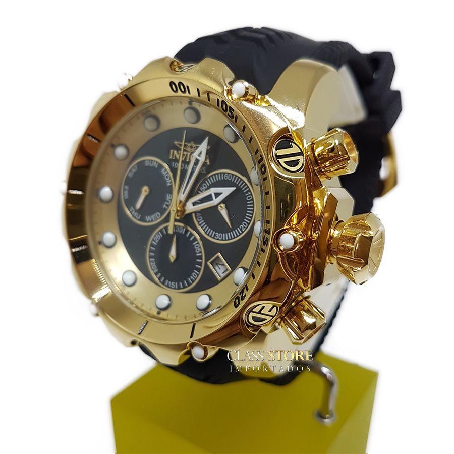 9d8ca77ae11 ... Relógio Invicta Venom 20401 Original Banhado a Ouro 18kt Preto Suíço  Cronógrafo - Imagem 2 ...