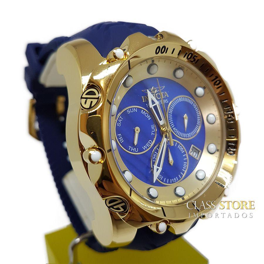 6cda3207963 ... Relógio Invicta Venom 20402 Original Banhado a Ouro 18kt Azul Suíço  Cronógrafo - Imagem 3 ...