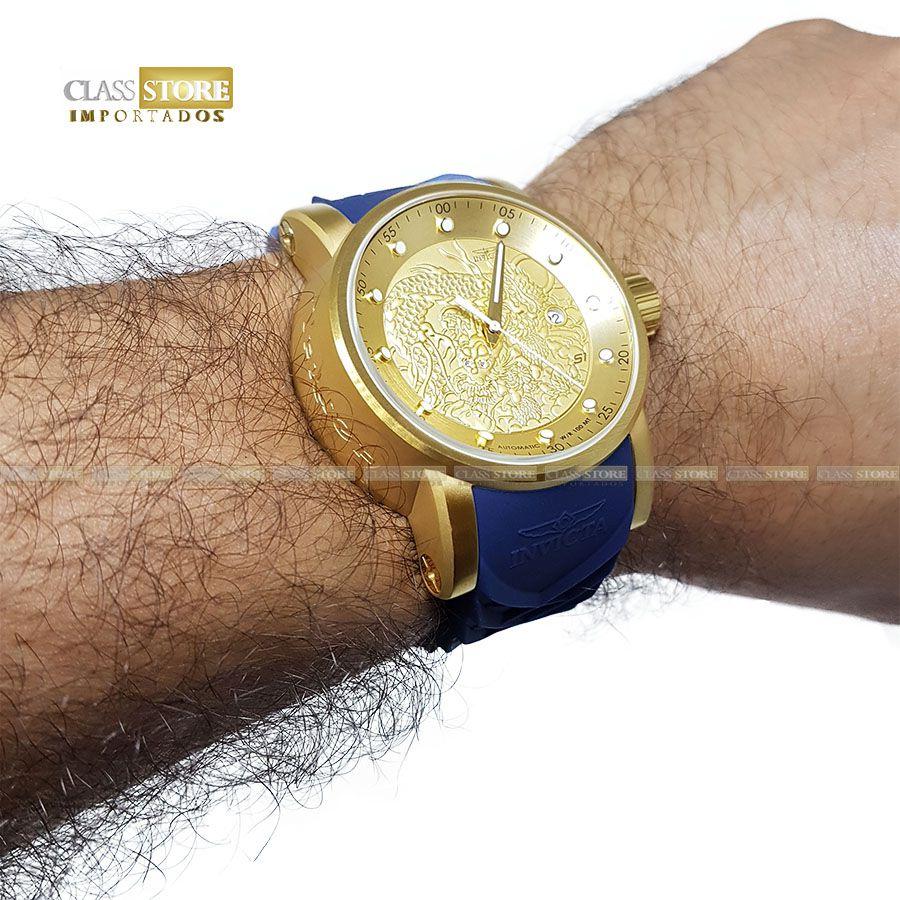 daf05145d7e ... Relógio INVICTA 18215 S1 Rally Yakuza Automático Banhado a Ouro 18k  Azul - Imagem 8