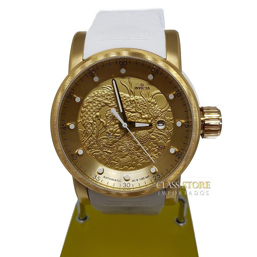0844f9486e2 ... Relógio INVICTA 19546 S1 Rally Yakuza Automático Banhado a Ouro 18k  Branco - Imagem 4 ...