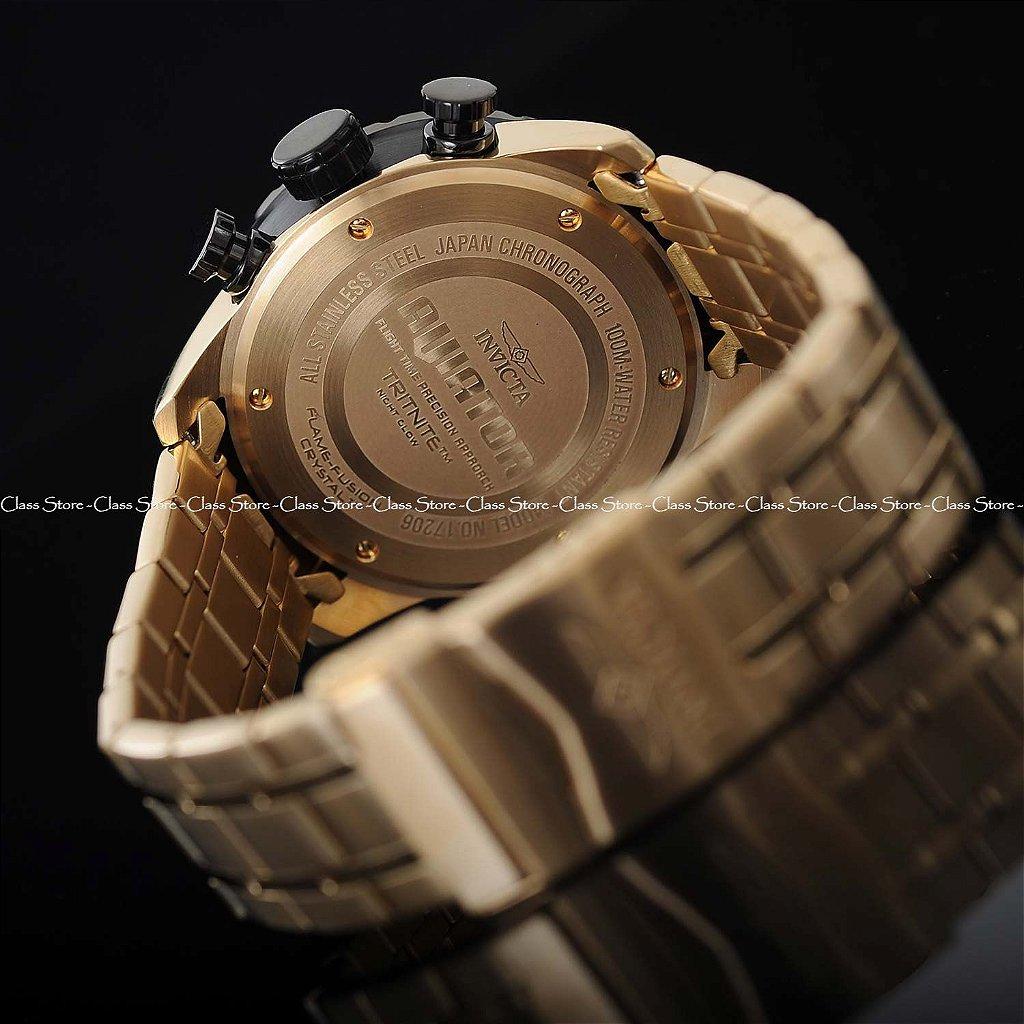 83d314ef110 Relógio INVICTA 17206 Aviator 48mm Banhado a Ouro 18k - Class Store ...
