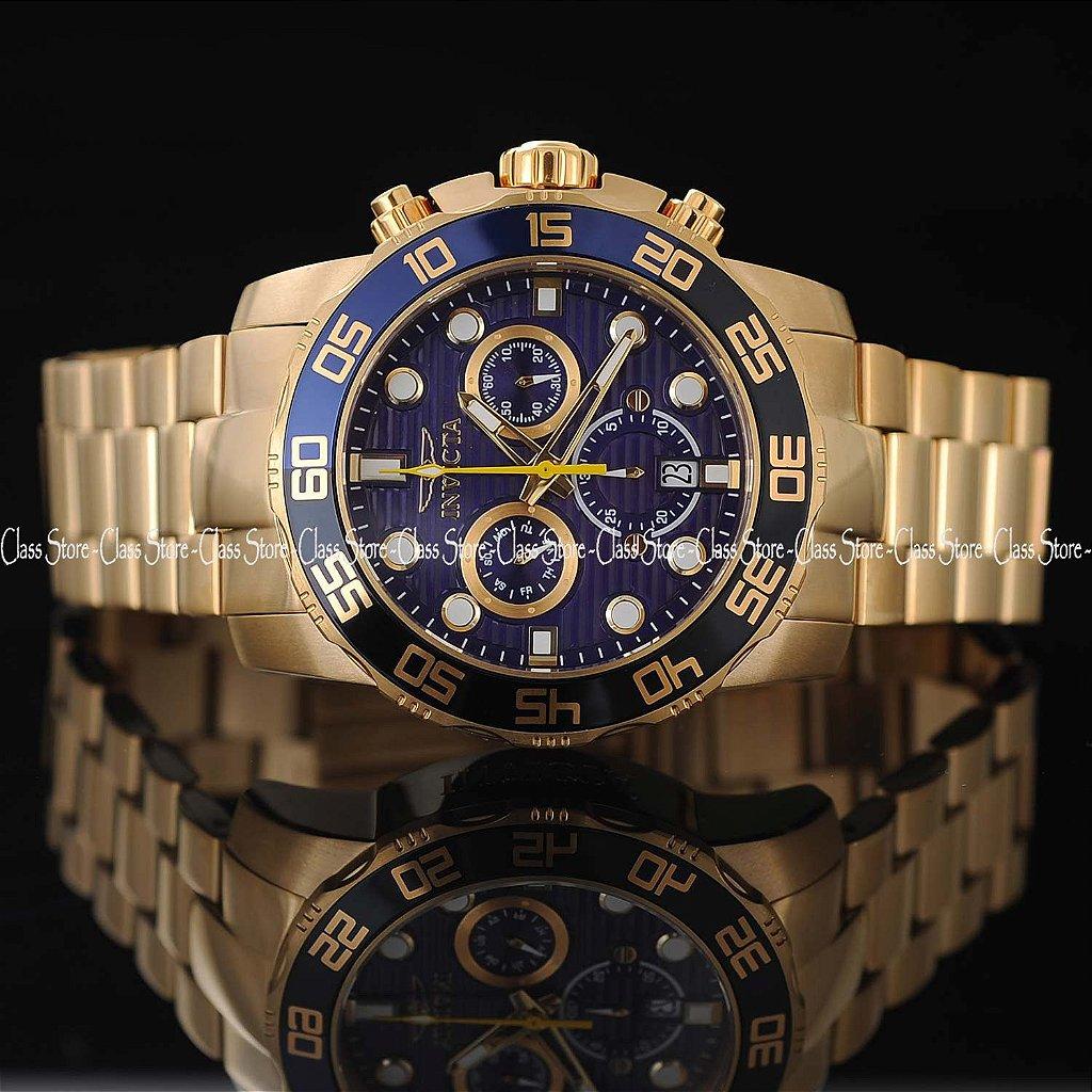ee23196c965 ... Relógio INVICTA 21555 Pro Diver 50mm Banhado a Ouro 18k cronógrafo Azul  Suíço - Imagem 4 ...