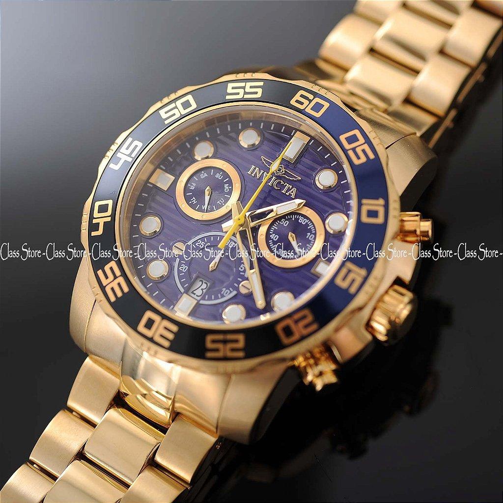 af7349e5487 ... Relógio INVICTA 21555 Pro Diver 50mm Banhado a Ouro 18k cronógrafo Azul  Suíço - Imagem 2 ...