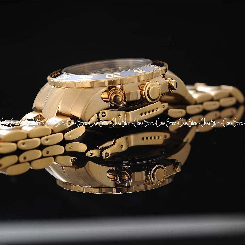 928b9882c5f ... Relógio INVICTA 21555 Pro Diver 50mm Banhado a Ouro 18k cronógrafo Azul  Suíço - Imagem 5 ...