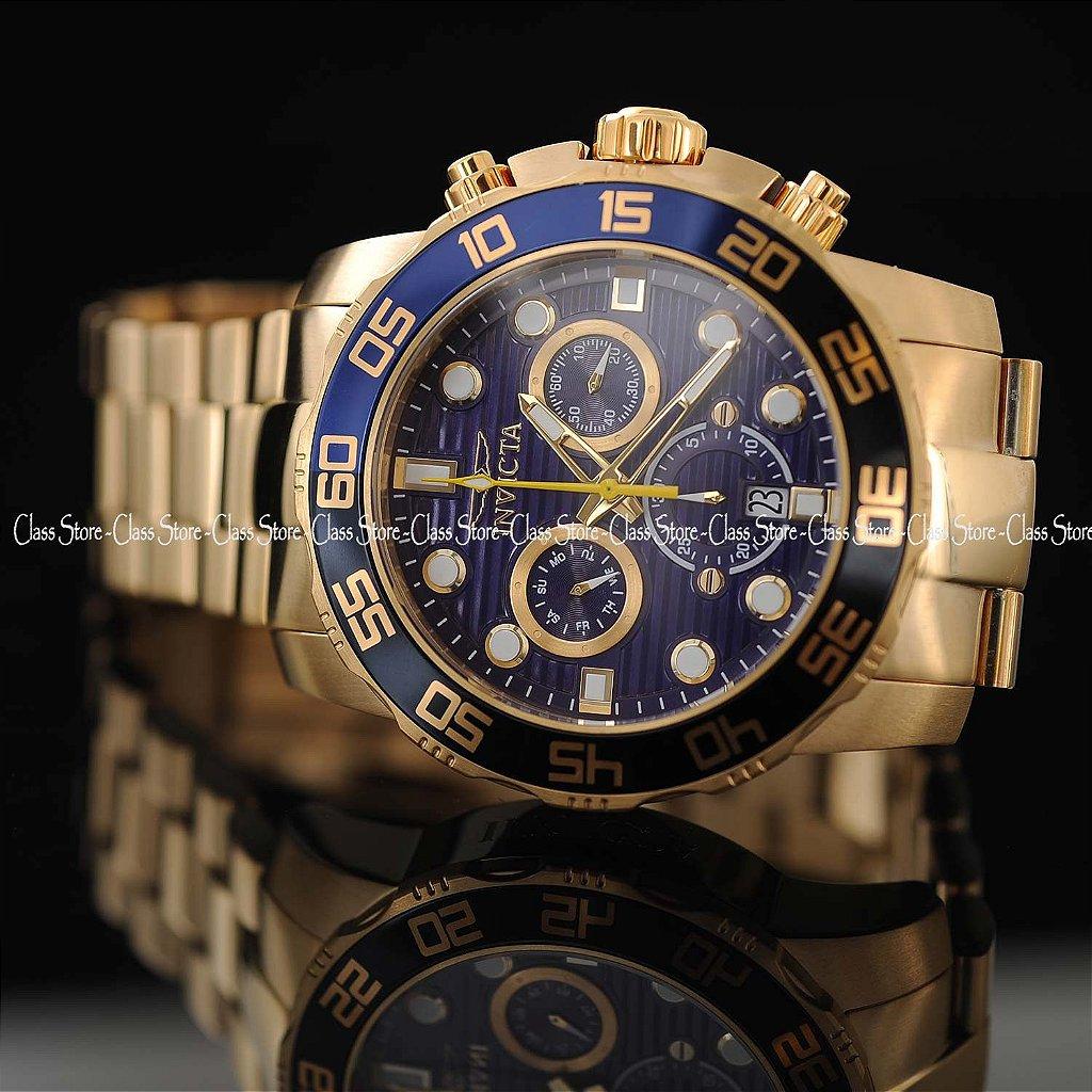 69c22c9b4b2 ... Relógio INVICTA 21555 Pro Diver 50mm Banhado a Ouro 18k cronógrafo Azul  Suíço - Imagem 3 ...