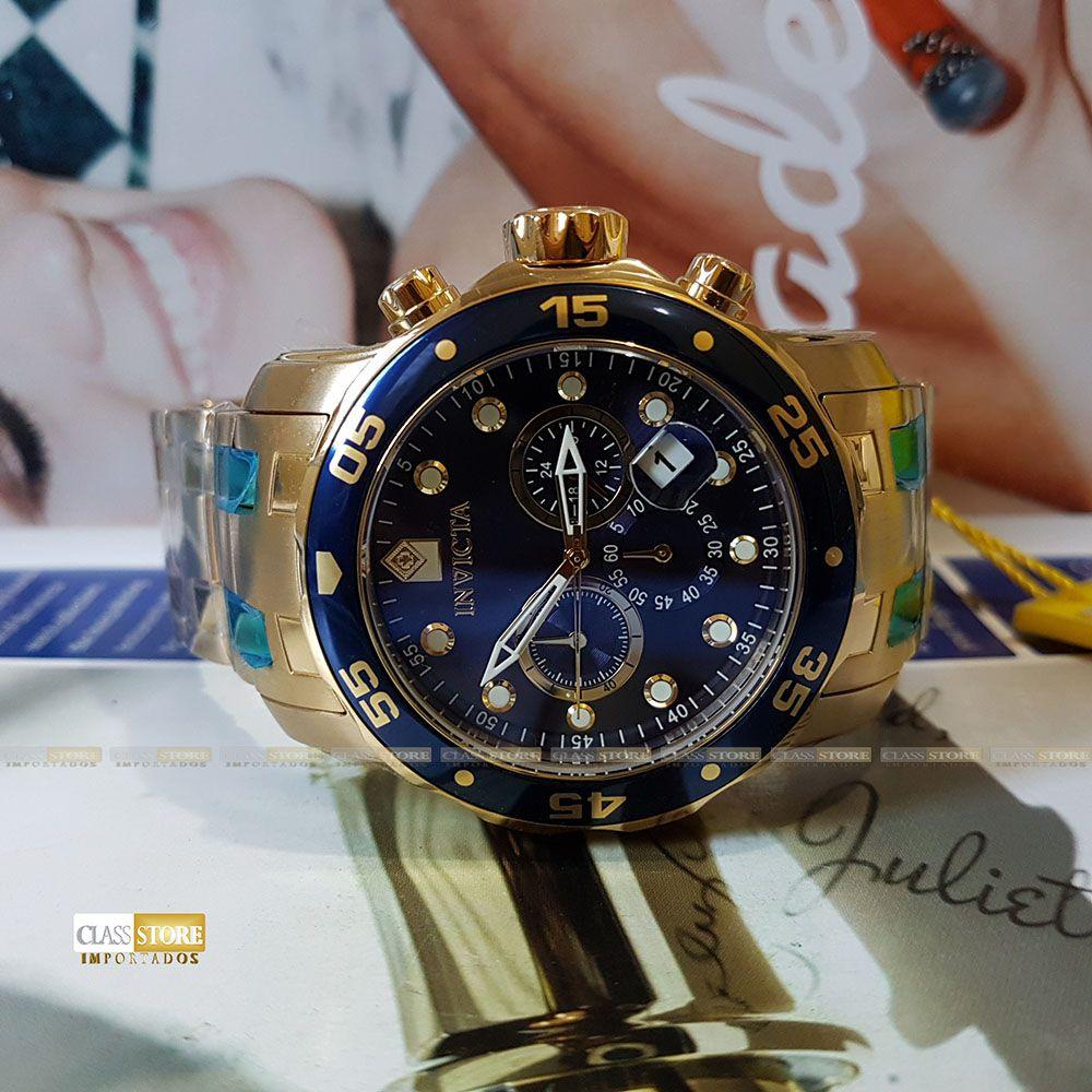 68da2a99c22 ... Relógio Invicta 21923 Pro Diver Masculino Banhado a Ouro 18k Mostrador  Azul Cronógrafo - Imagem ...