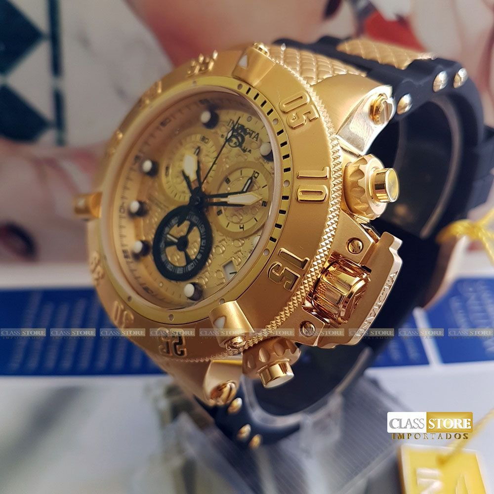 aae2024e8cc ... Relógio Invicta 15802 Subaqua Noma 3 Masculino Mostrador Dourado  texturizado Cronógrafo Suíço - Imagem 3 ...