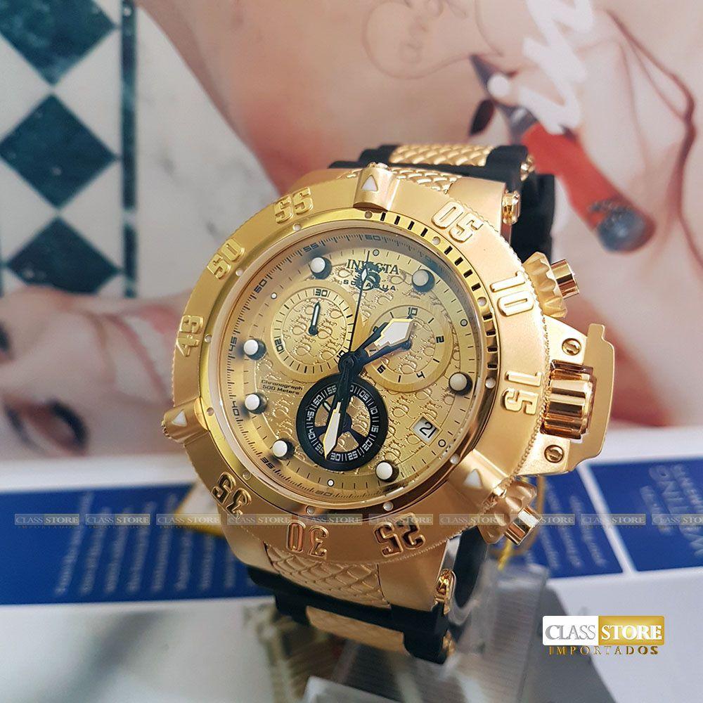 4a19f13ea00 ... Relógio Invicta 15802 Subaqua Noma 3 Masculino Mostrador Dourado  texturizado Cronógrafo Suíço - Imagem 2 ...
