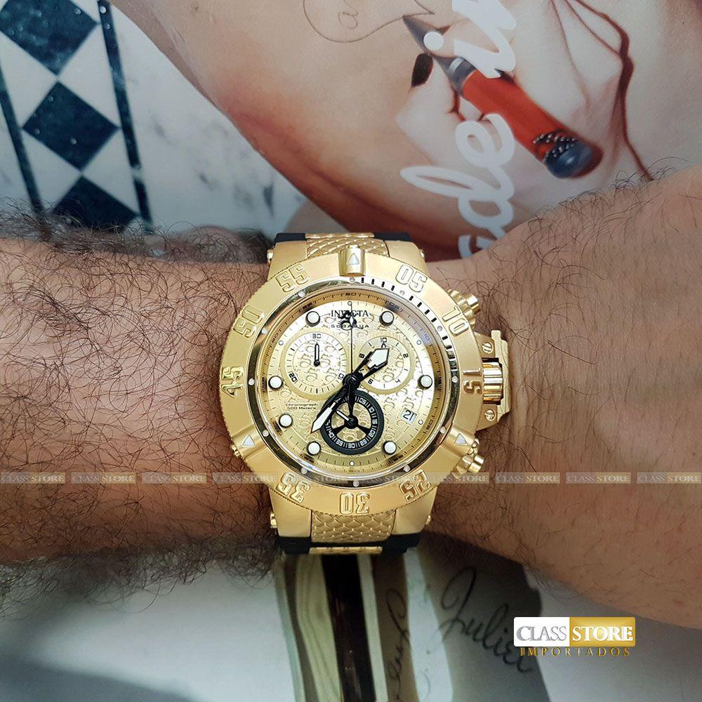 8dea98b1f63 ... Relógio Invicta 15802 Subaqua Noma 3 Masculino Mostrador Dourado  texturizado Cronógrafo Suíço - Imagem 11 ...