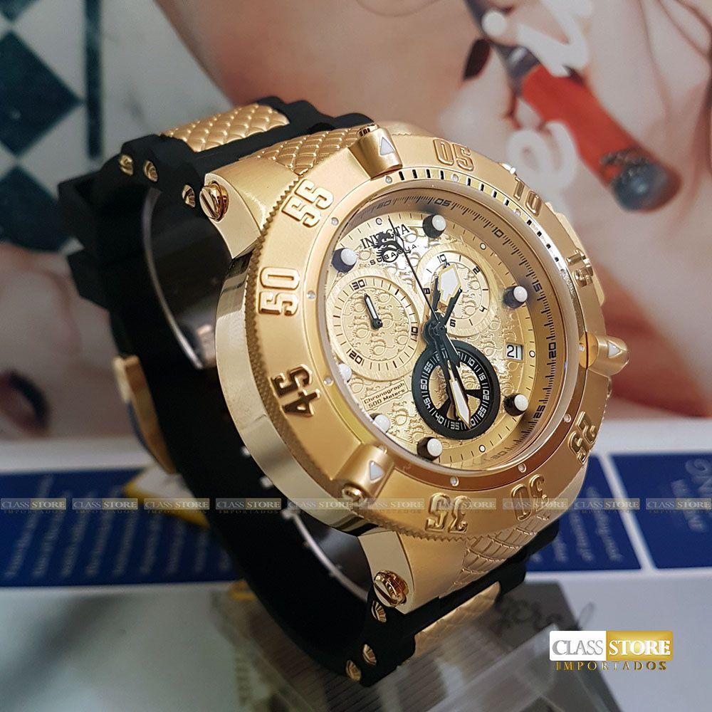 813a4d91f8b ... Relógio Invicta 15802 Subaqua Noma 3 Masculino Mostrador Dourado  texturizado Cronógrafo Suíço - Imagem 5 ...
