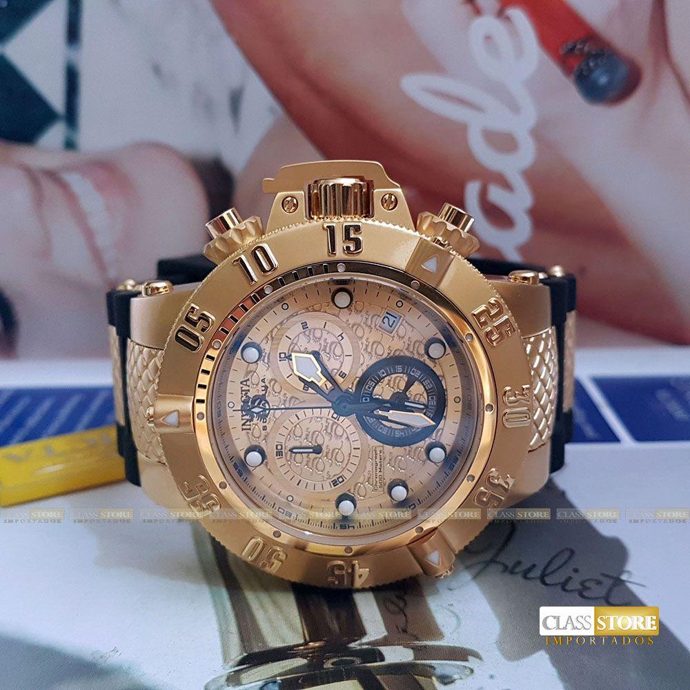 027beb99800 ... Relógio Invicta 15802 Subaqua Noma 3 Masculino Mostrador Dourado  texturizado Cronógrafo Suíço - Imagem 6 ...