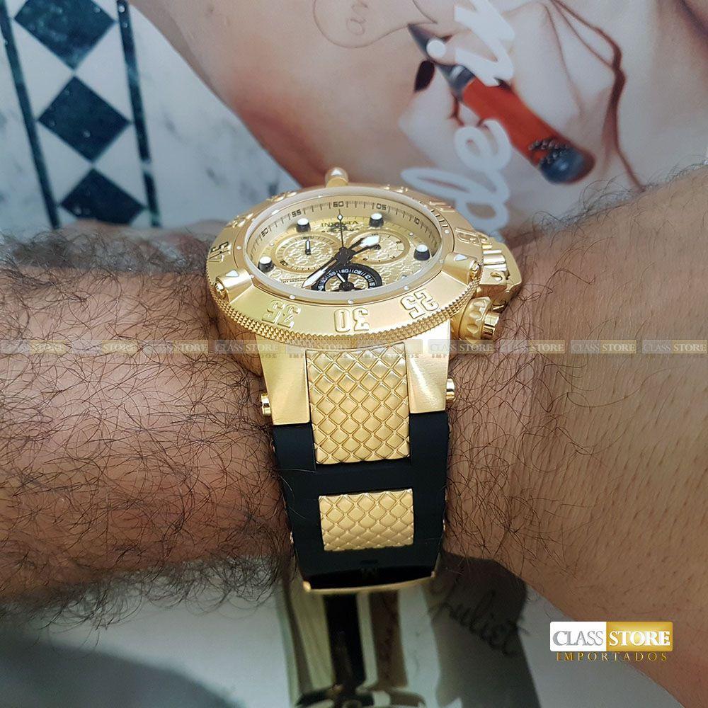 c0dabbafdec ... Relógio Invicta 15802 Subaqua Noma 3 Masculino Mostrador Dourado  texturizado Cronógrafo Suíço - Imagem 12