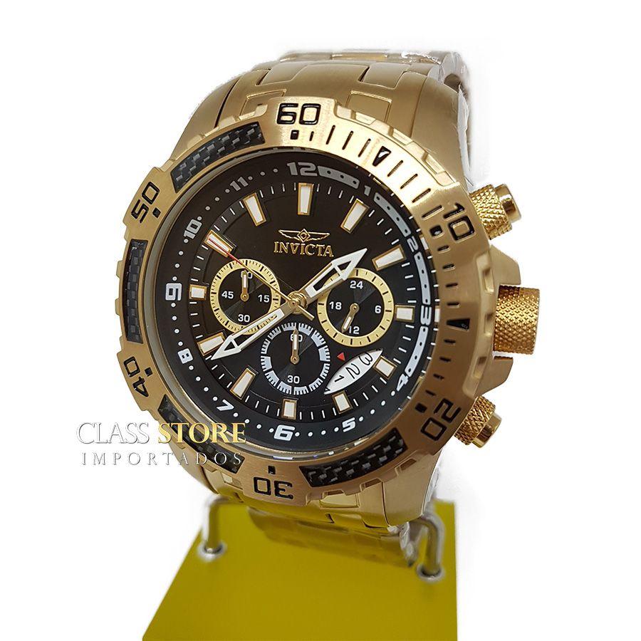 6ec2165a819 ... Relógio Invicta 24855 Pro Diver Masculino Banhado a Ouro 18k Mostrador  Preto Cronógrafo - Imagem ...