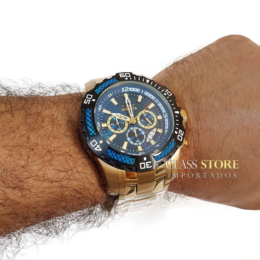 fb5de497d41 ... Relógio Invicta 24856 Pro Diver Masculino Banhado a Ouro 18k Mostrador  Azul Cronógrafo - Imagem 6