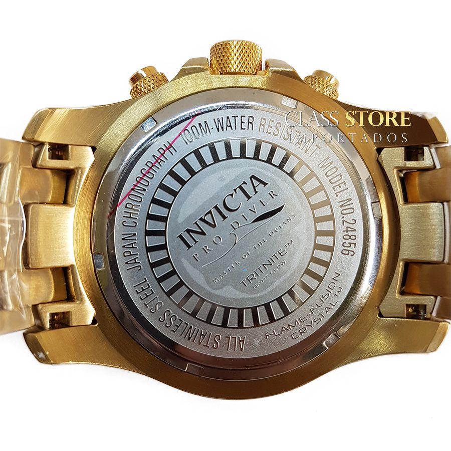 6c3e2ab6c19 ... Relógio Invicta 24856 Pro Diver Masculino Banhado a Ouro 18k Mostrador  Azul Cronógrafo - Imagem ...