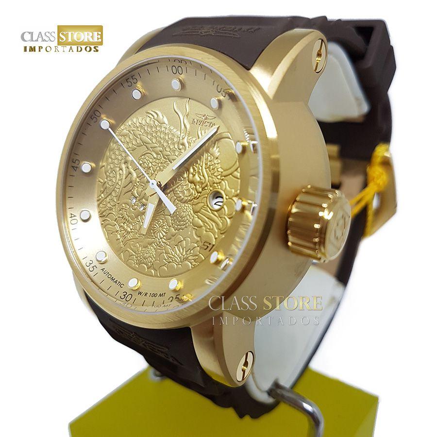 d9230cd46af ... Relógio Invicta 12790 Yakuza S1 Rally Automático Banhado a Ouro 18k  Pulseira Marrom - Imagem ...