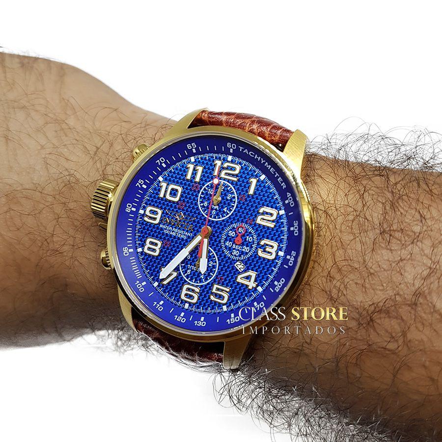 0ecc004cd88 ... Relógio Invicta 90067 I-Force Mostrador Azul Banhado a Ouro 18k Pulseira  em Couro Cronógrafo