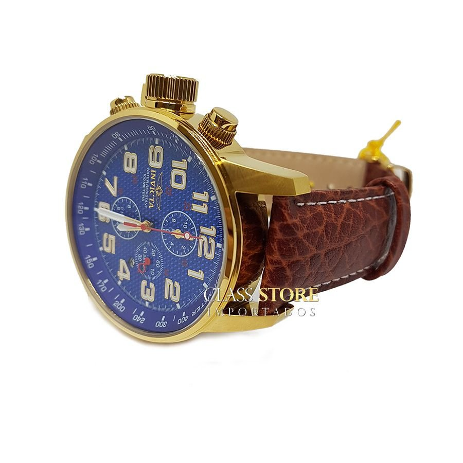 f2ee11cbbde ... Relógio Invicta 90067 I-Force Mostrador Azul Banhado a Ouro 18k Pulseira  em Couro Cronógrafo ...