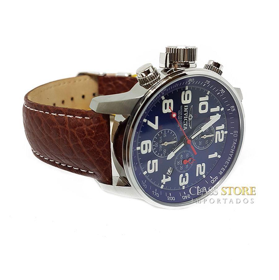 4ca6fc316af ... Relógio Invicta 3328 I-Force Mostrador Banhado Prata Pulseira em Couro  Cronógrafo Braço Direito ...