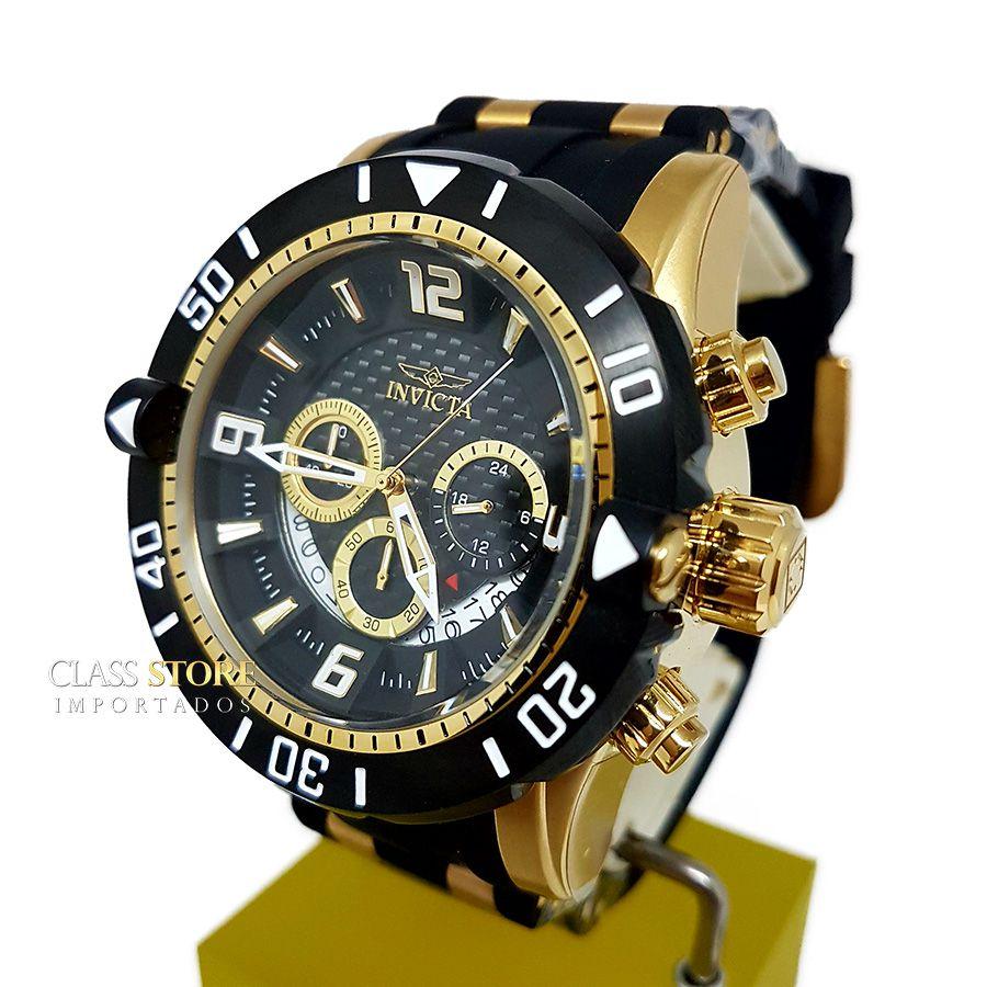 826c354e239 ... Relógio Invicta 23702 Pro Diver Masculino Banhado a Ouro 18k Mostrador  Preto Cronógrafo - Imagem 2 ...