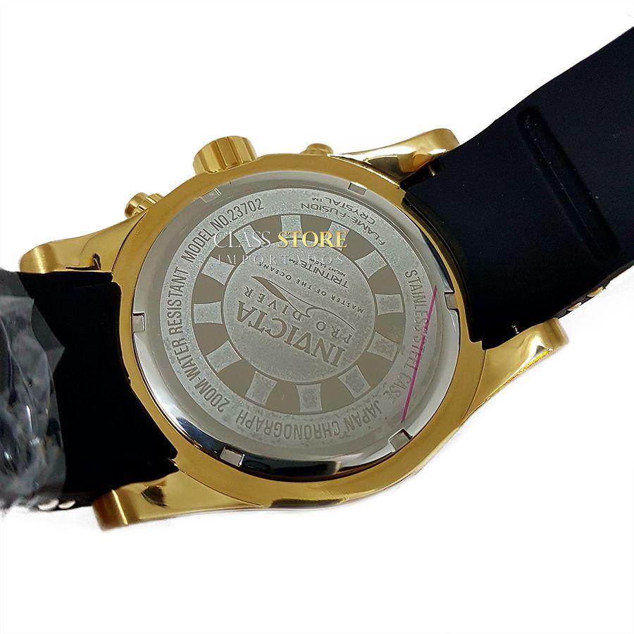 2e94bf75250 ... Relógio Invicta 23702 Pro Diver Masculino Banhado a Ouro 18k Mostrador  Preto Cronógrafo - Imagem 7