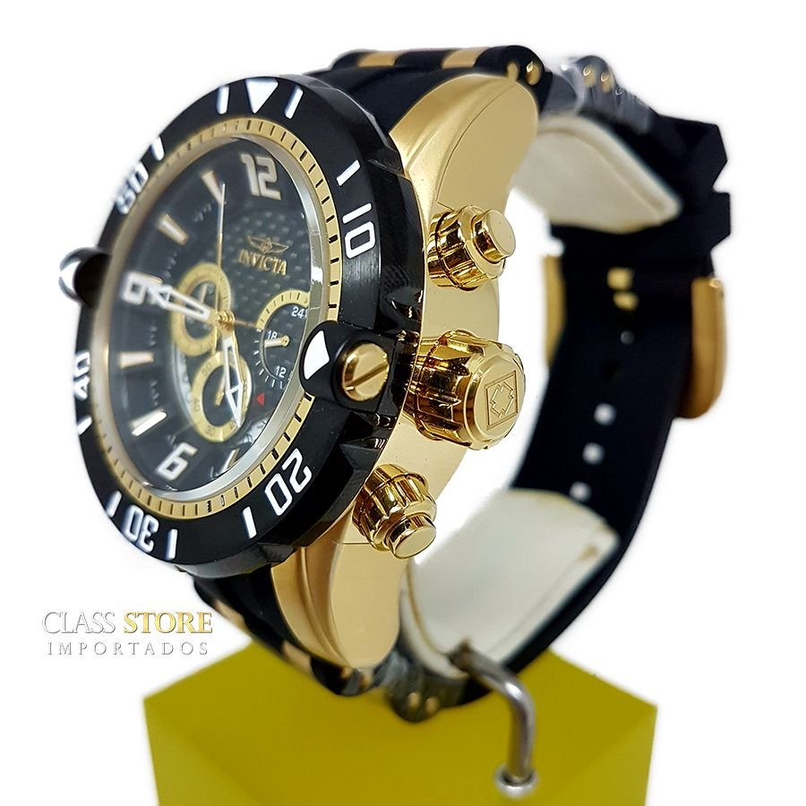 d6ffde6110e ... Relógio Invicta 23702 Pro Diver Masculino Banhado a Ouro 18k Mostrador  Preto Cronógrafo - Imagem 4 ...