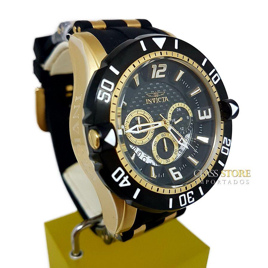 48c6586ab9e ... Relógio Invicta 23702 Pro Diver Masculino Banhado a Ouro 18k Mostrador  Preto Cronógrafo - Imagem 3 ...