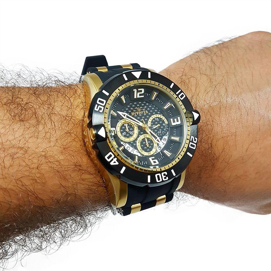 0a9a77ad006 ... Relógio Invicta 23702 Pro Diver Masculino Banhado a Ouro 18k Mostrador  Preto Cronógrafo - Imagem 6 ...