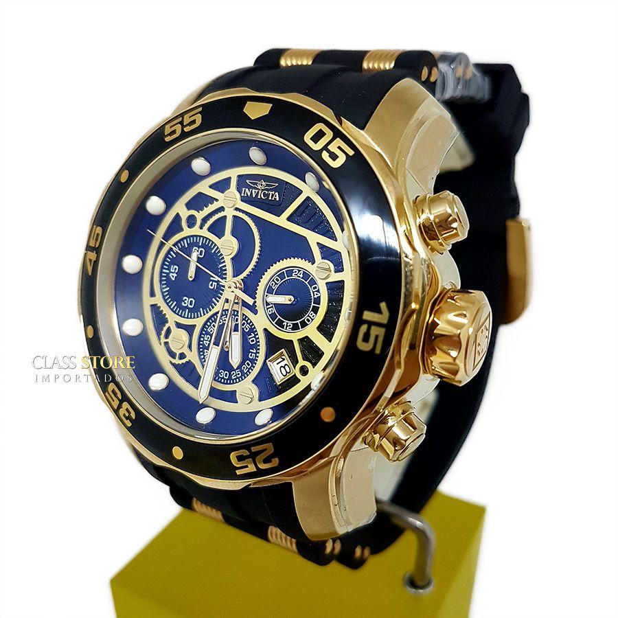5d7cfbf390e ... Relógio Invicta 25710 Pro Diver Banho a Ouro 18k Cronógrafo Mostrador  Preto - Imagem 3 ...