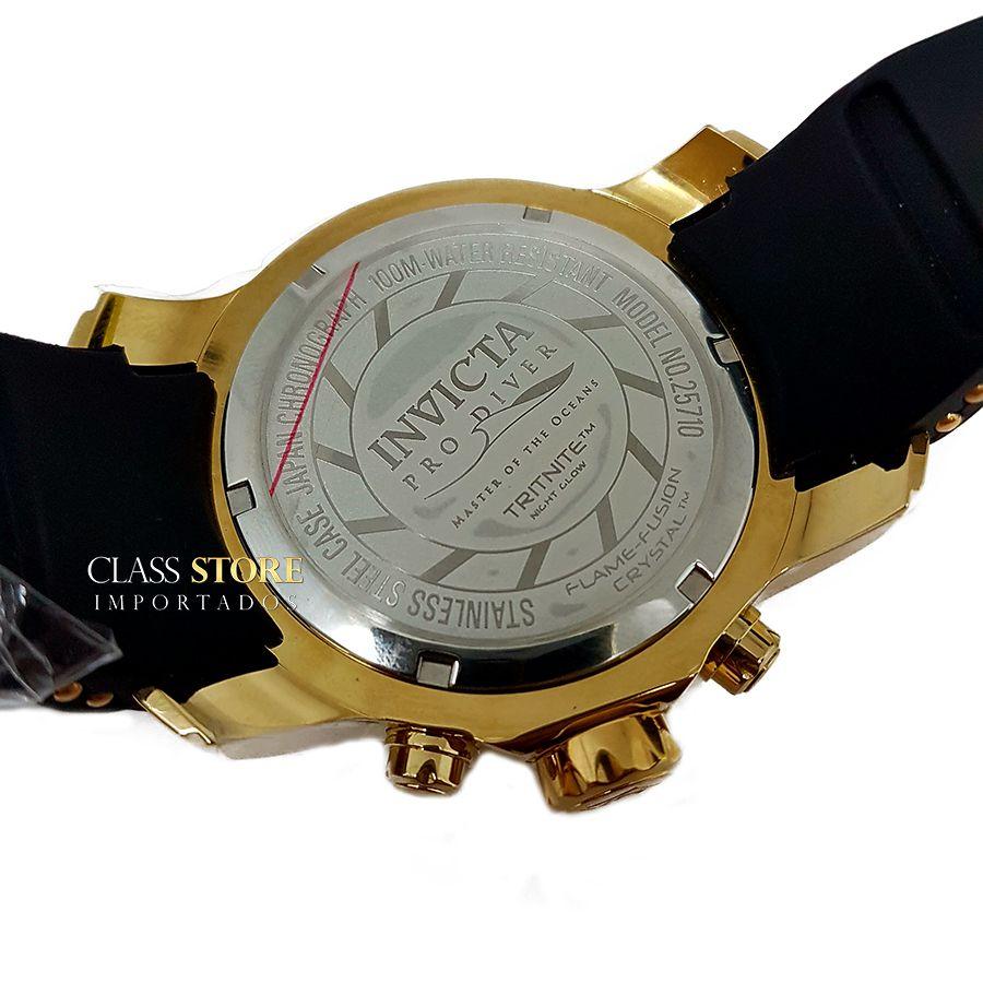 855b3edc74c ... Relógio Invicta 25710 Pro Diver Banho a Ouro 18k Cronógrafo Mostrador  Preto - Imagem 7