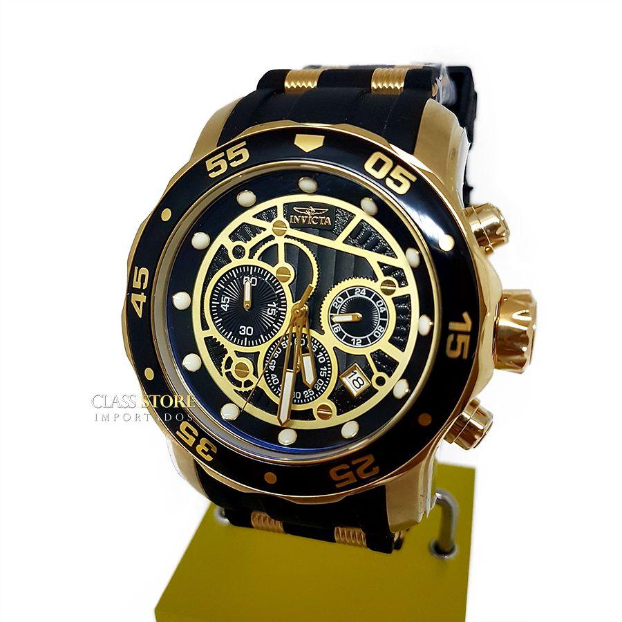 8ef03c7c812 ... Relógio Invicta 25710 Pro Diver Banho a Ouro 18k Cronógrafo Mostrador  Preto - Imagem 2 ...