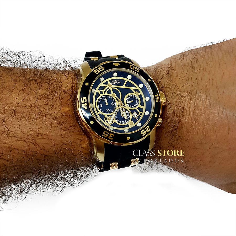 d677b7f25a9 ... Relógio Invicta 25710 Pro Diver Banho a Ouro 18k Cronógrafo Mostrador  Preto - Imagem 6 ...