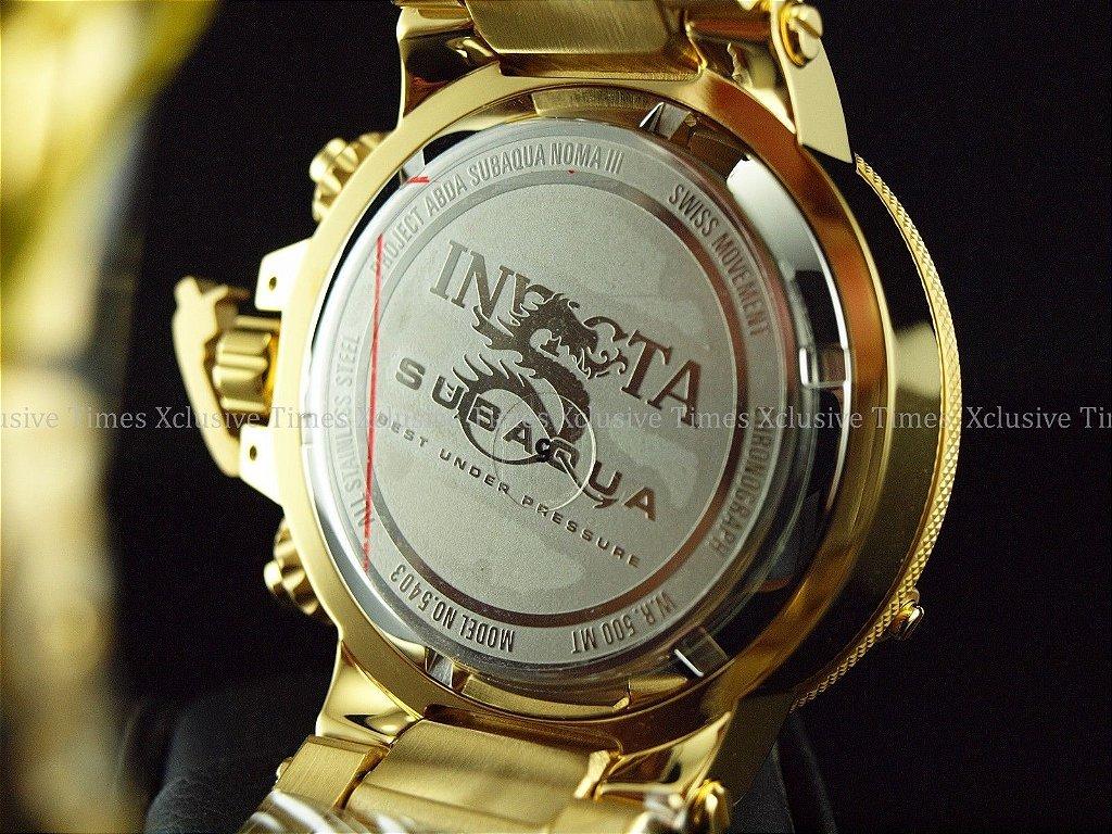 85433131959 ... Relógio Invicta 5403 Subaqua Noma 3 Banhado a Ouro 18k Cronógrafo Suíço  - Imagem 7