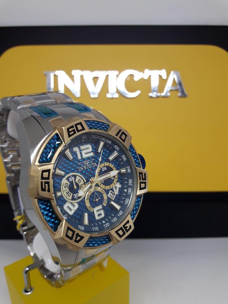 7c64420b84 ... Relógio Invicta 25855 Pro Diver 50mm Prata e Dourado Mostrador Azul  Texturizado Cronógrafo - Imagem 3 ...