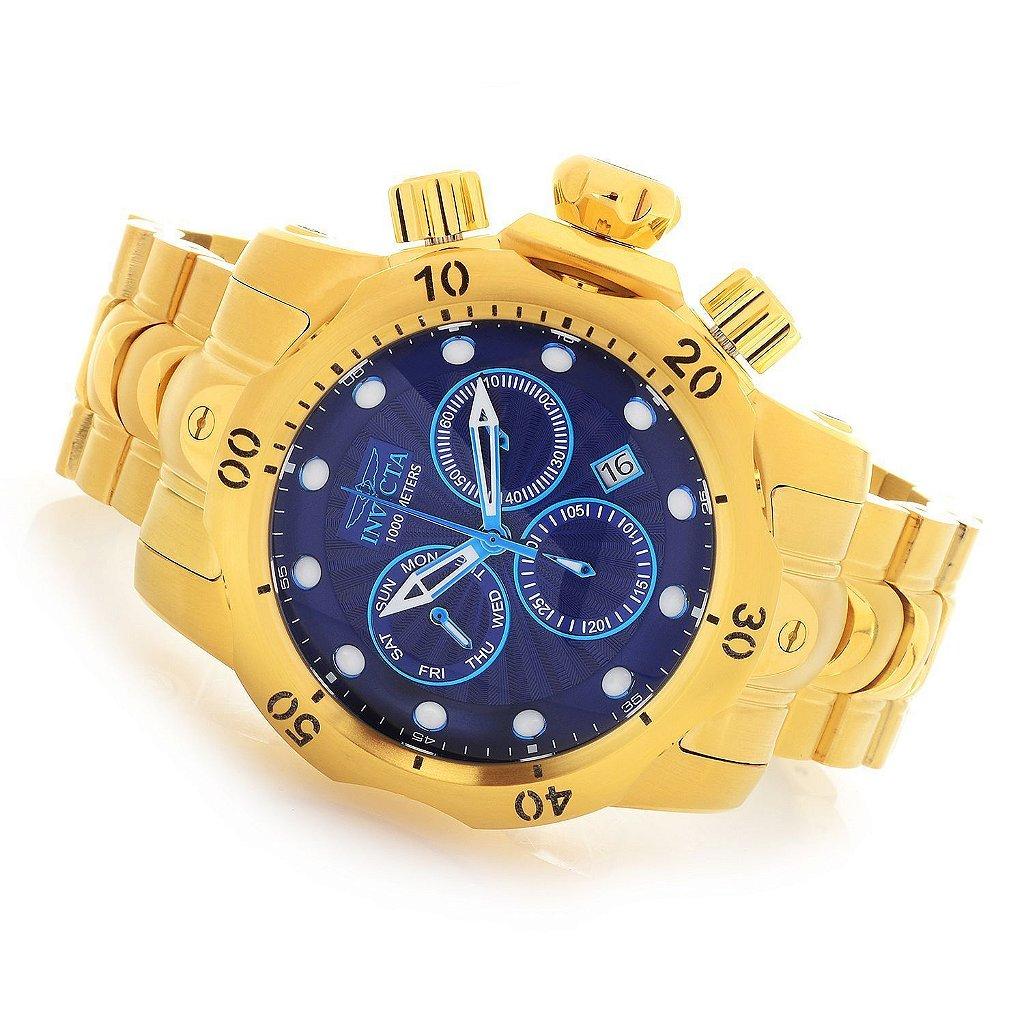 4bb92821311 ... Relogio Invicta 25905 Venom 53 mm Mostrador Azul Texturizado Banhado a  Ouro 18k Cronógrafo Suíço ...