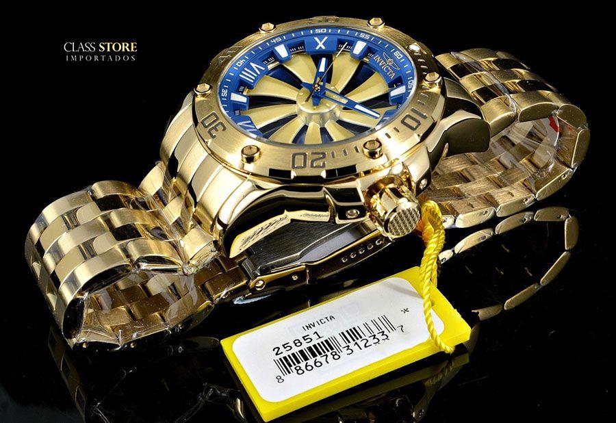 72b4f46c5f8 ... Relógio Invicta 25851 Speedway 49mm Automático Banhado a Ouro 18k  Mostrador Rotativo - Imagem 5 ...