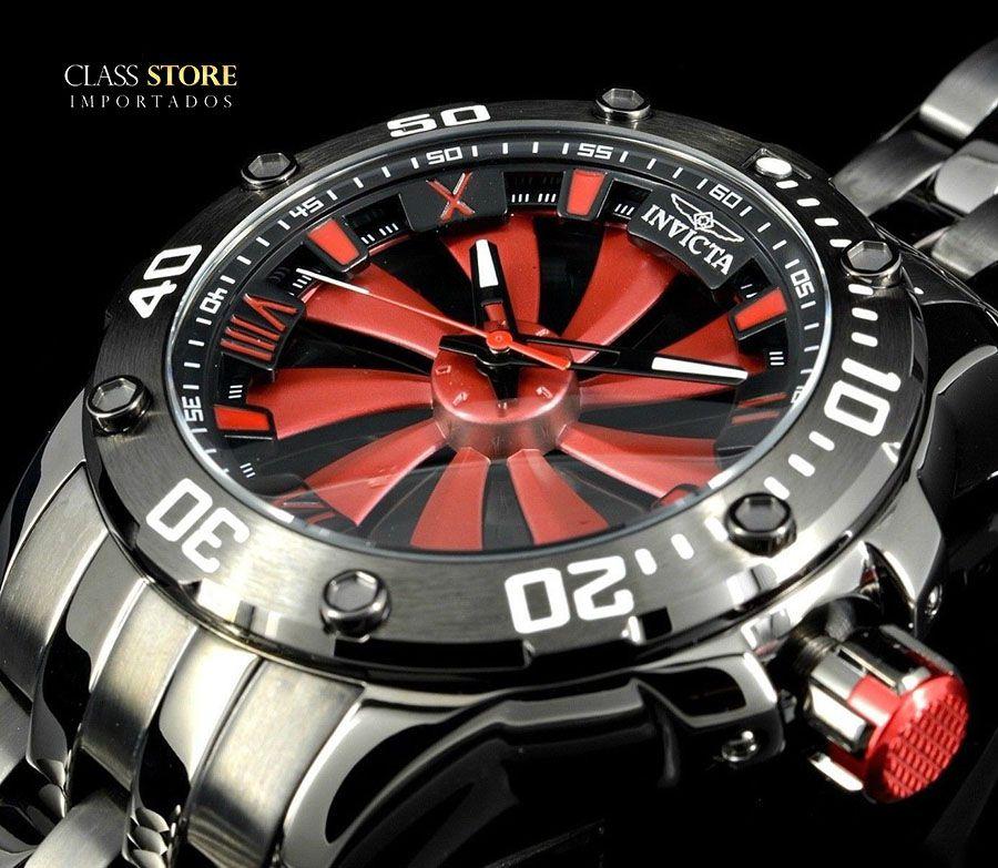 abe4f7a7d77 ... Relógio Invicta 25849 Speedway 49mm Automático Preto Metálico Mostrador  Vermelho Turbina - Imagem ...