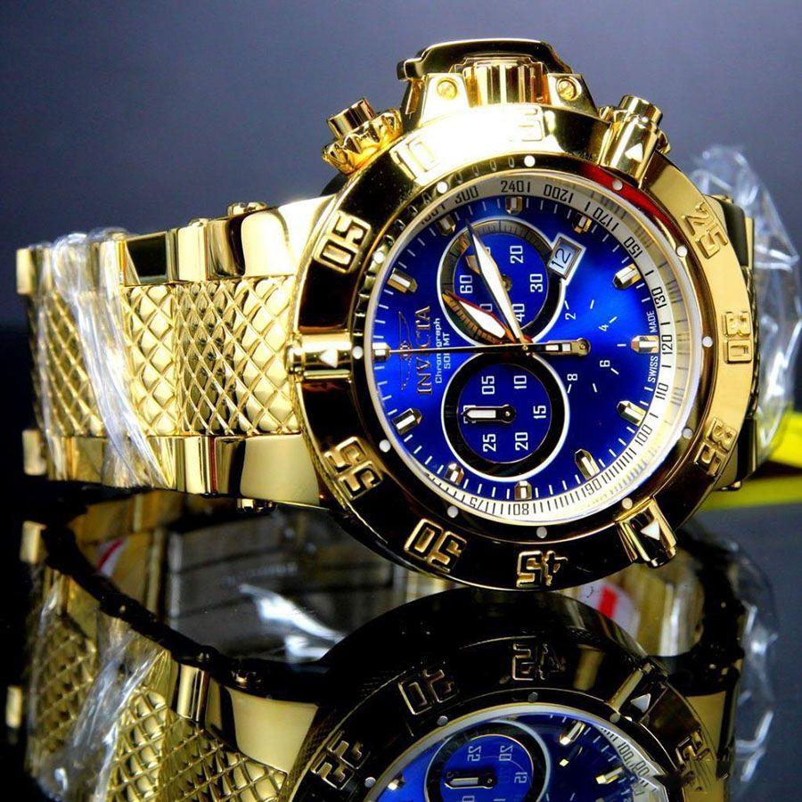 22bc230e7c8 ... Relógio Invicta 14501 Subaqua Noma III 50mm Banhado a Ouro 18k  Brilhante Cronógrafo Suíço - Imagem ...