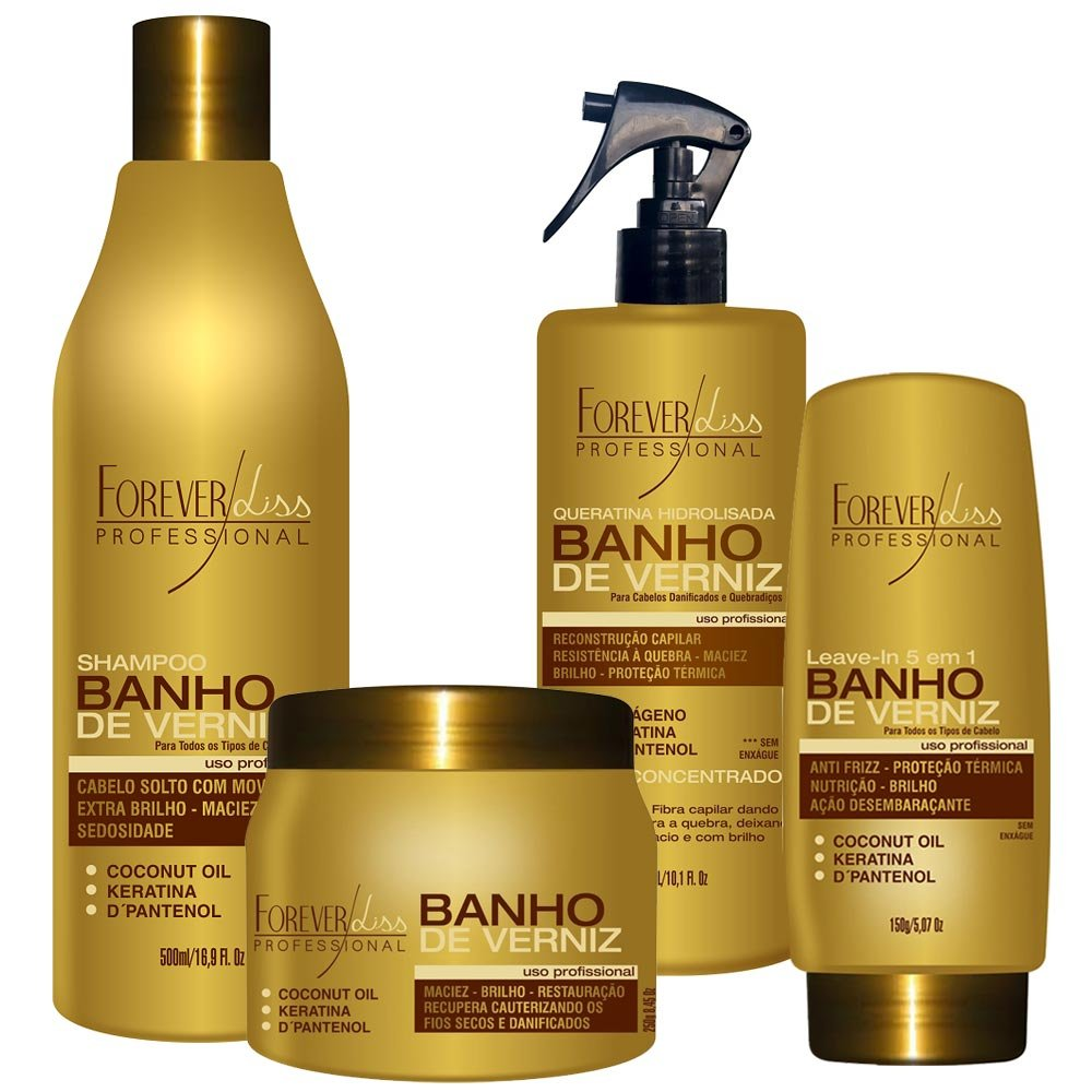 FOREVER LISS - KIT COMPLETO BANHO DE VERNIZ - SHAMPOO / QUERATINA / LEAVE-IN / MÁSCARA 250g