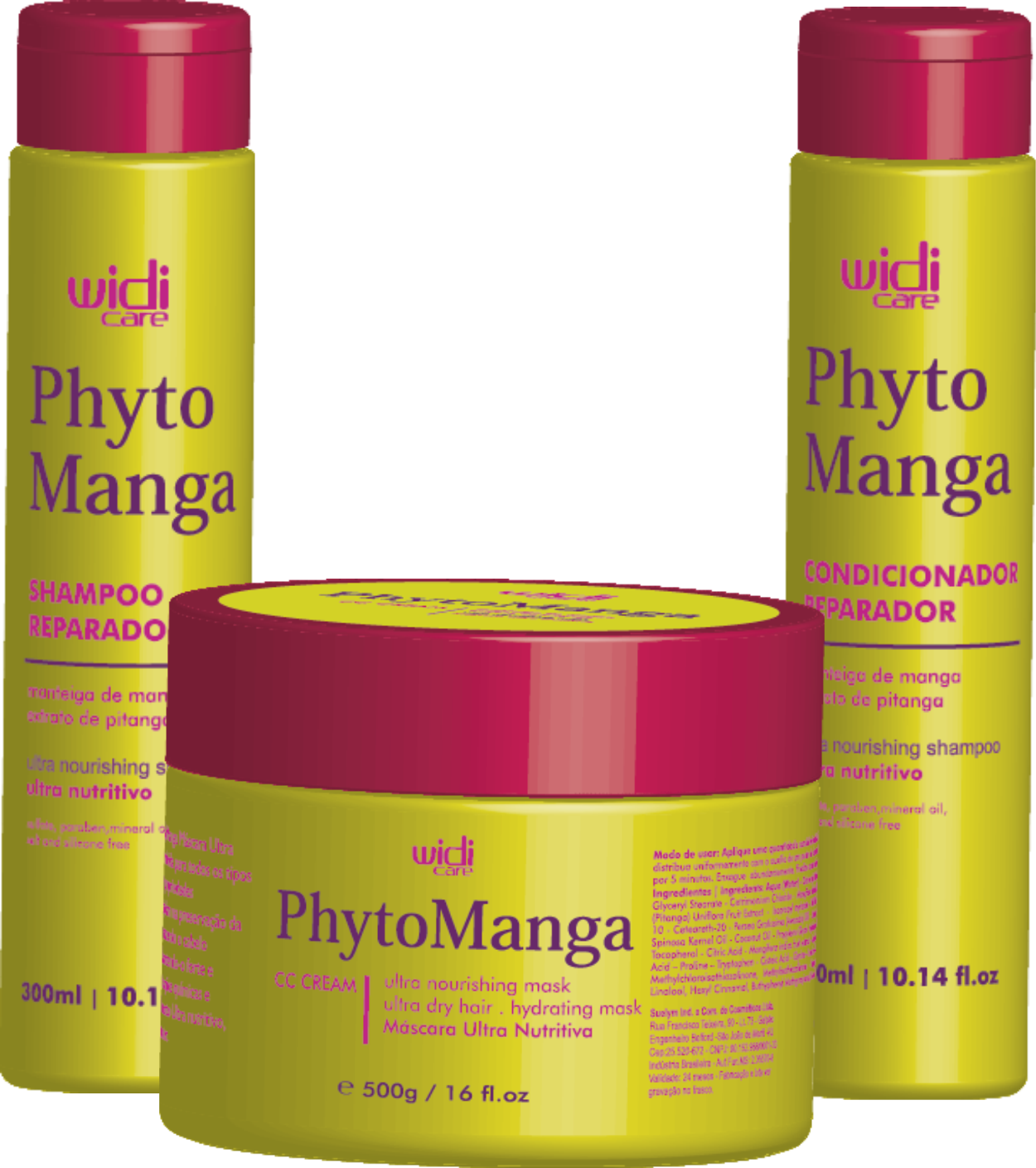 WIDI CARE - KIT PHYTOMANGA - SHAMPOO 300ml / CONDICIONADOR 300ml / MÁSCARA 500g
