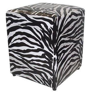 Puff Pufes Pufs Quadrado 44x44 Courino Animal Print Zebra