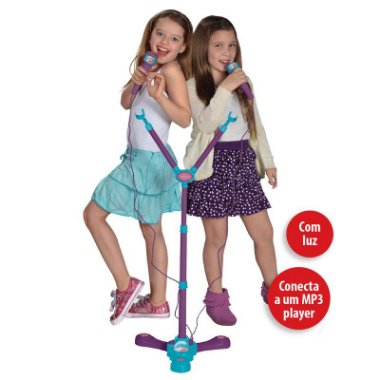 Microfone Karaoke Duplo Infantil Frozen Instrumento Musical 8165 - 2