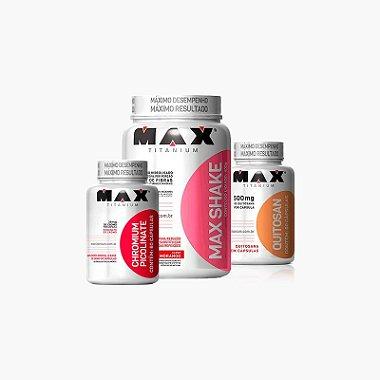 Max Shake 400g + Quitosana ( 60caps ) + Cromo ( 60caps ) - Max Titanium