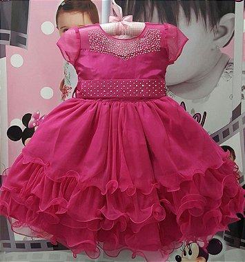 Vestido Infantil de Festa Princesa Disney / Barbie - tam 1 ao 3 Radical Red